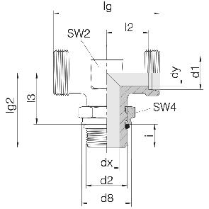 Соединение для труб регулируемое Т-образное с контргайкой 24-SDAT-L6-M10F