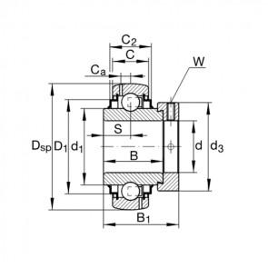 Подшипники шариковые закрепляемые с эксцентриковым закрепительным кольцом, со сферической поверхностью наружного кольца G 1104-KRR-B-AS2/V