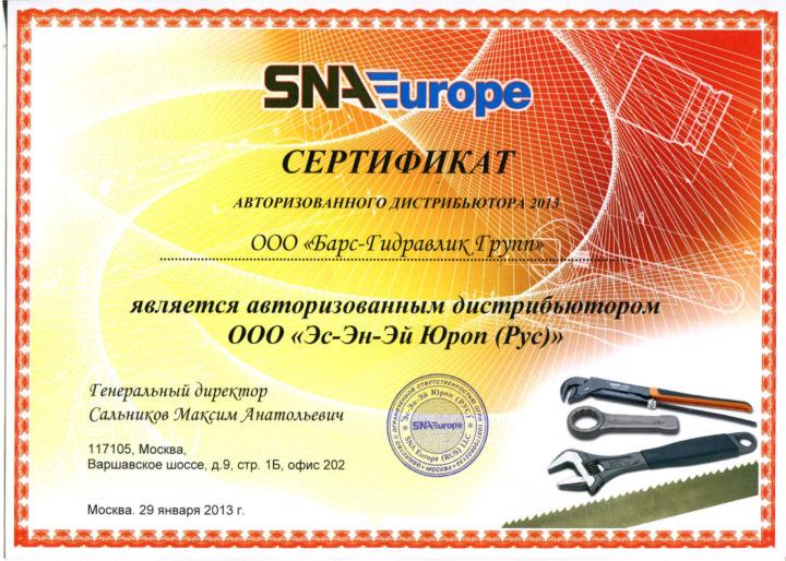 Сертификат Эс-Эн-Эй Юроп